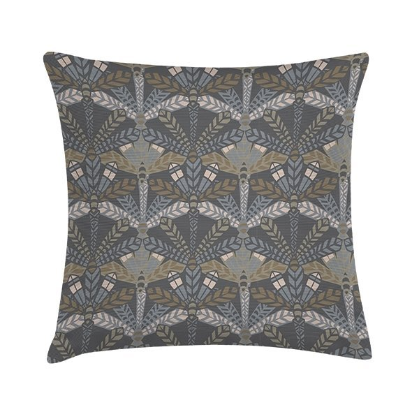 Eco Design Kussen Dark Grey Leaf 45x45