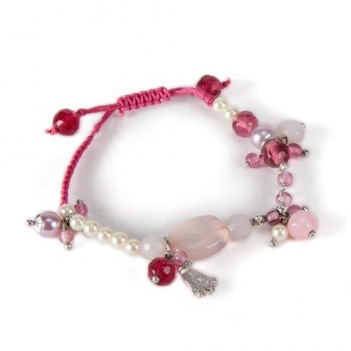 FairForward Armb. Roze Bedels Touw/Stn/Gls