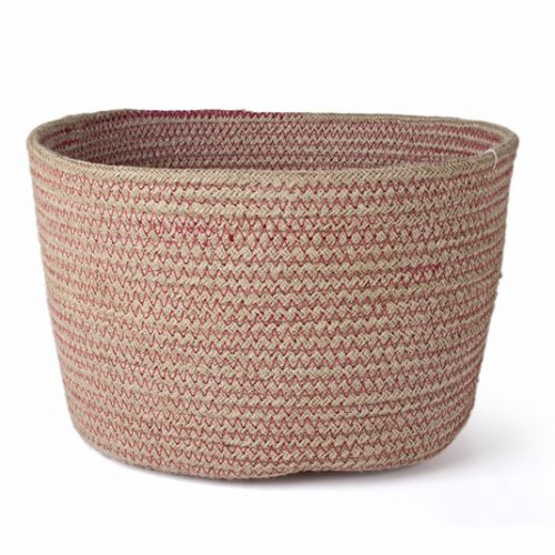 FairForward Mand Jute Zigzag Steek Roze D28 H16