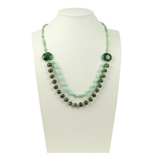 FairForward Necklace double Strand beaded with clay Dark green