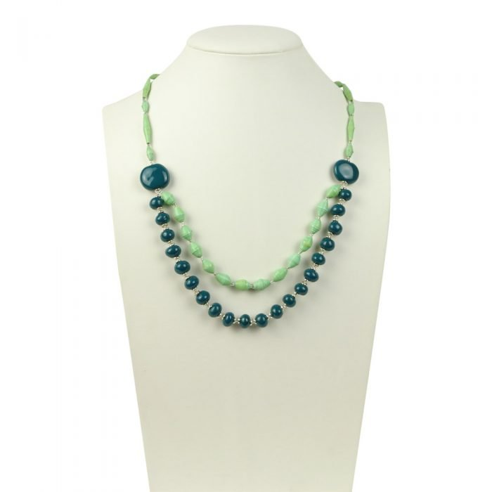 FairForward Necklace double Strand beaded with clay Teal