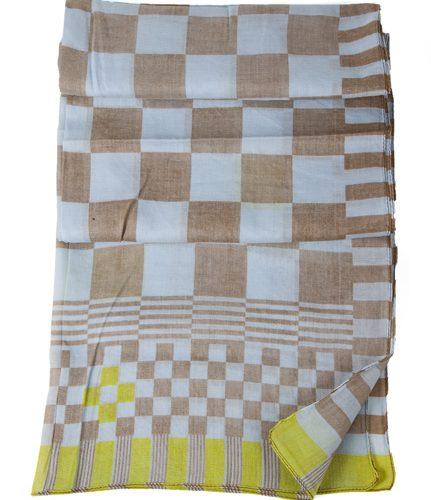 FairForward Sjaal Geblokt Beige/Blauw 180x50cm Kat.