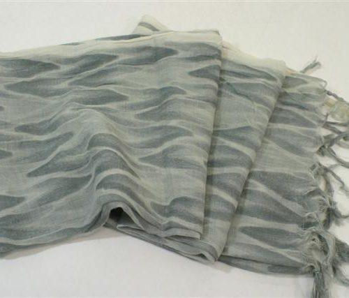 FairForward Sjaal Ikat Grijs 100% Wol 50x180cm