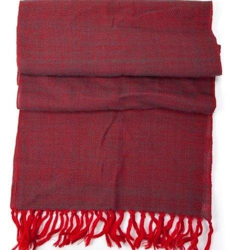 FairForward Sjaal Rood 'Jacquard' 100% Wol 60x200cm