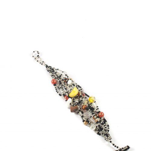 Bohemian Fair Trade Armband Glaskralen Zwart/Wit