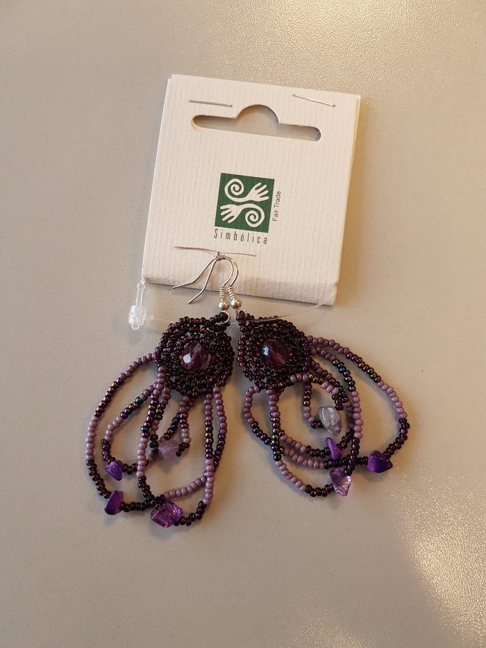 Bohemian Fair Trade Oorhangers party paars