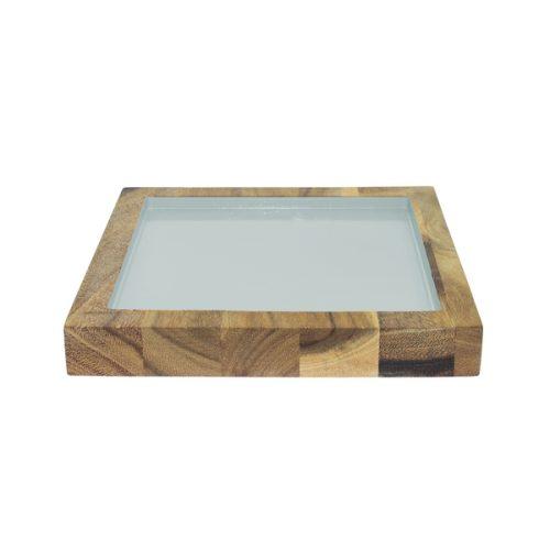 Eco Design Presenteerblad Vierkant Met Rand Mint 22x22 Acacia