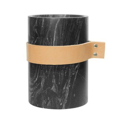 Eco Design Vaas 14x20 Zwart Met Leer
