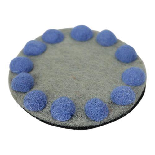 FairForward Felt Small Coasters of 4 grijs/blue