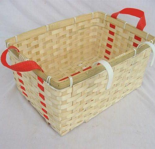 FairForward Fietsmand Rechth Bamboe Rode Hengsels