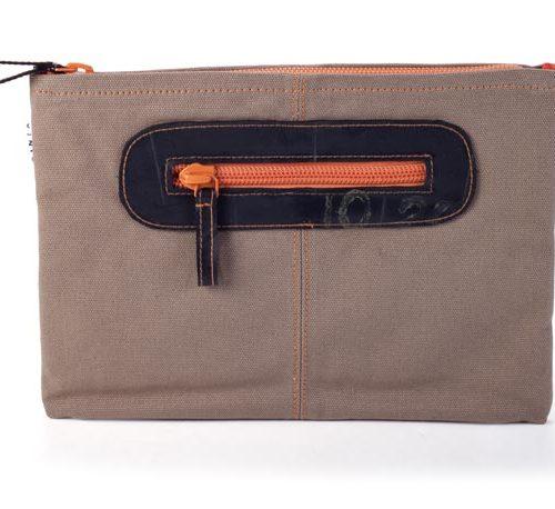 Kinta Ipadhoes Can Met Rits Kaki-Oranje 22x30cm