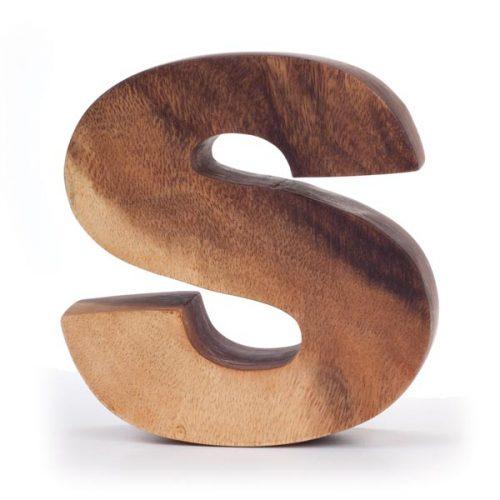Kinta Letter S Acacia 15cm