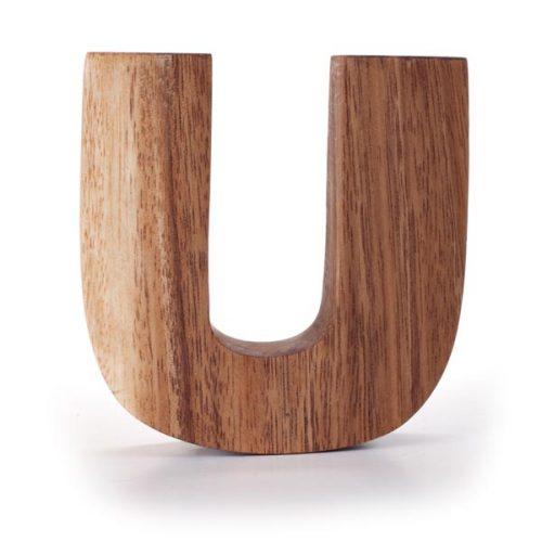 Kinta Letter U Acacia 15cm
