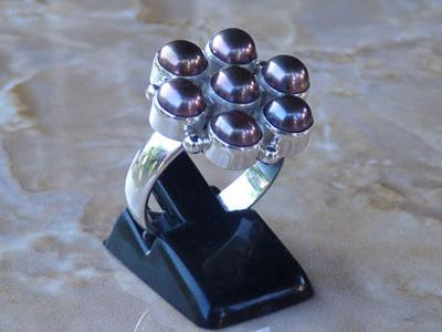 Madat Nepal Ring Zilver 20mm Pearl/Black
