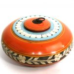 Only Natural Kist Rond Hout Oranje 23x23x9cm