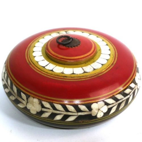 Only Natural Kist Rond Hout Rood 23x23x9cm