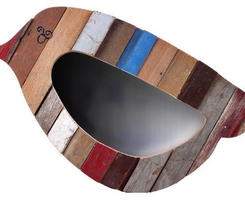 Sarana Mirror Recycle Wood Bird