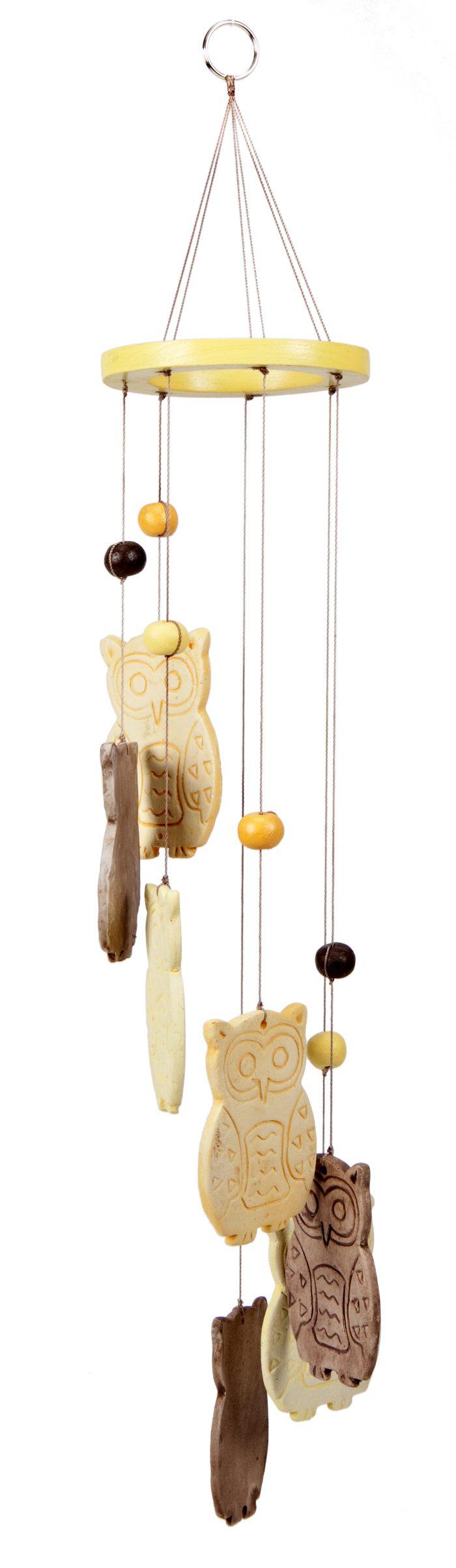 Sarana Windchime Ceramic Owls Natural