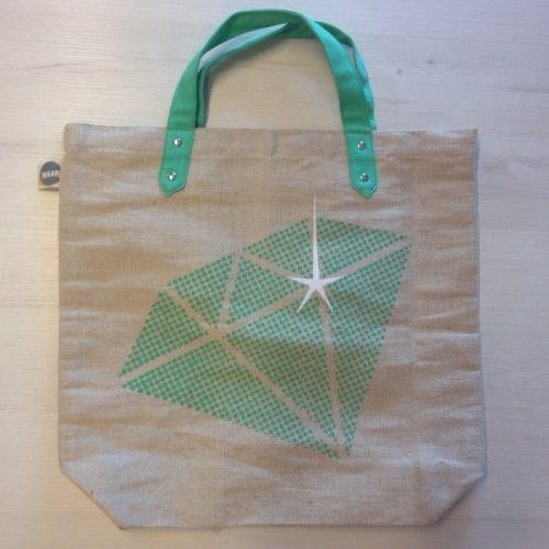 Tuyu Shopper Jute/Katoen Diamant Groen